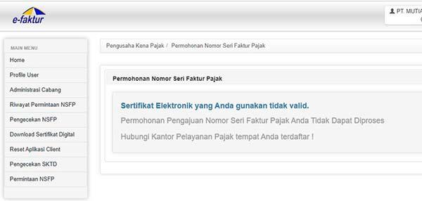 sertifikat elektronik tidak valid